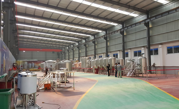 Inside the tiantai factory showcasing the completed brew systems for customers to come and do their final inspection.